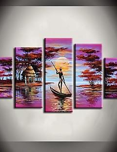 tanie Pejzaże abstrakcyjne-Ręcznie malowane Krajobraz Dowolny kształt Brezentowy Hang-Malowane obraz olejny Dekoracja domowa Pięć paneli