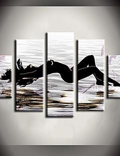 tanie Pejzaże abstrakcyjne-Ręcznie malowane Nagi Dowolny kształt Brezentowy Hang-Malowane obraz olejny Dekoracja domowa Pięć paneli