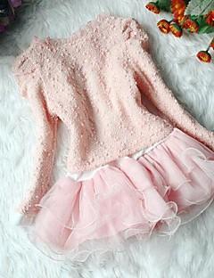 billige Tøjsæt til piger-Pige Tøjsæt Ensfarvet, Bomuld Forår Efterår Langærmet Blonde Beige Lys pink