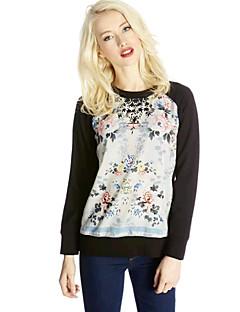 billige Outlets-Forvent rund krave langærmet Print Contrast Color Sweater