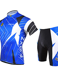 FJQXZ Cycling Jersey with Shorts Men's Short Sleeves Bike Clothing Suits Quick Dry Ultraviolet Resistant Front Zipper Breathable 3D Pad