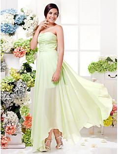 billige Grønn glamour-Tube / kolonne Kjære Asymmetrisk Chiffon Brudepikekjole med Bølgemønster av LAN TING BRIDE® / Åpen rygg