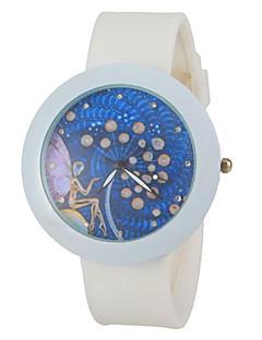 billige Blomster-ure-Dame Armbåndsur Silikone Bånd Blomst Hvid