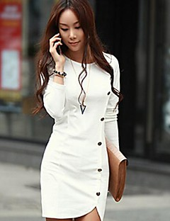 TS Round Neck Dress , Polyester Above Knee Long Sleeve