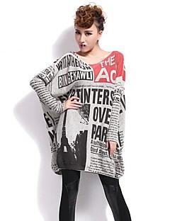 baratos Suéteres de Mulher-Mulheres Manga Longa Longo Vestido Estampado / Outono / Inverno