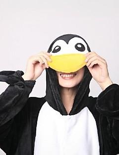 billige Kigurumi-Voksne Kigurumi-pysjamas med tøfler Pingvin Onesie-pysjamas Korallfleece Svart / Hvit Cosplay Til Damer og Herrer Pysjamas med dyremotiv Tegnefilm Festival / høytid kostymer