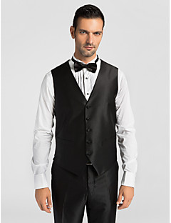 cheap Vests & Pants-Black Solid Polyester Tailored Fit Suit Vest Single Breasted More-buttons