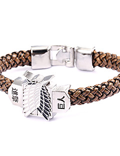 Sin geki no kyo jin Attack on Titan Punk Style Giant People Brown Leather Bracelet(1 Pc)