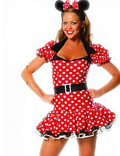 billige Voksenkostymer-Karneval Cosplay Kostumer / Party-kostyme Dame Halloween Festival / høytid Halloween-kostymer Polkadotter