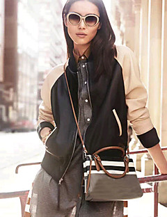 LA MODE Women's Long Sleeve Baseball Leather Coats
