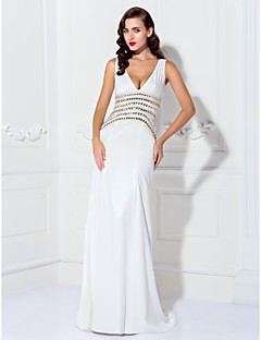 cheap Special Occasion Dresses-A-Line V Neck Sweep / Brush Train Stretch Satin Cocktail Party / Prom / Formal Evening / Black Tie Gala / Holiday / Military Ball Dress