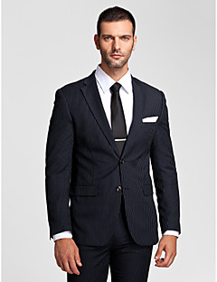 Stripes Tailored Fit Polyester Suit - Notch Single Breasted Two-buttons