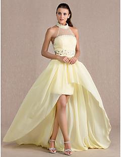 Θήκη / στήλη υψηλού λαιμού ασύμμετρη σιφόν φόρεμα με φόρεμα από το ts couture®