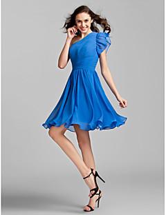 tanie Królewski błękit-Krój A / Księżniczka Na jedno ramię Do kolan Żorżeta Sukienka dla druhny z Fałdki boczne / Marszczenia przez LAN TING BRIDE®