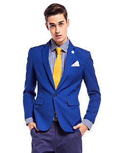 Solid Slim Fit Polyester Suit - Notch Slim Notch One-Button Single Breasted One-button