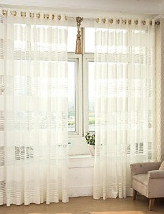 To paneler Window Treatment Rustikk Moderne Neoklassisk Middelhavet Europeisk Designer , Stribe Soverom Polyester Materiale Hjem DekorFor