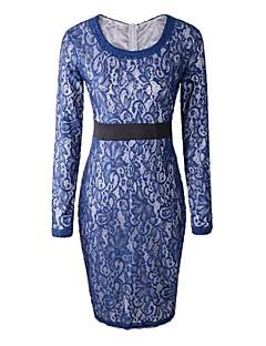 kvinners rund krage blonder lang ermet kjole