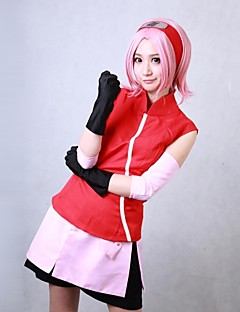 baratos Fantasias Anime-Inspirado por Naruto Sakura Haruno Anime Fantasias de Cosplay Ternos de Cosplay Patchwork Vermelho Sem MangasCasaco / Saia / Shorts /