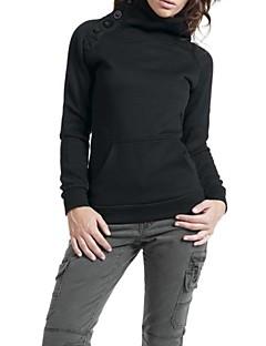 Les boutons de la femme mélange de coton orné de couleur unie sweat-shirt