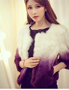Baibian Women All Match Contrast Color Fur Thermal Overcoat