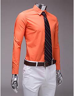 クラシック/セミスプレーネック長袖綿のポリエステルシャツスーツ