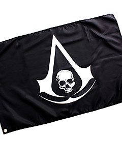 cheap -Cosplay Accessories Inspired by Assassin's Creed Cosplay Anime/ Video Games Cosplay Accessories Flag Black Woolen Male