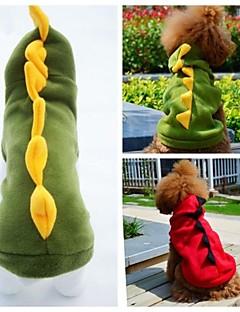 billiga Hundkläder-Katt Hund Dräkter/Kostymer Outfits Huvtröjor Hundkläder Djur Röd Grön Polär Ull Kostym För husdjur Cosplay Bröllop Halloween