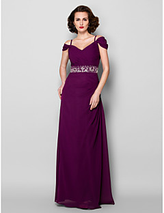 cheap Mother of the Bride Dresses-Sheath / Column Spaghetti Straps Floor Length Chiffon Mother of the Bride Dress with Beading Crystal Detailing Sash / Ribbon Criss Cross