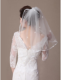 One-tier Ribbon Edge Beaded Edge Wedding Veil Shoulder Veils With Ribbon Scattered Crystals Style 21.65 in (55cm) Tulle