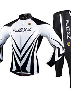 FJQXZ Cycling Jersey with Tights Men's Long Sleeves Bike Clothing Suits Quick Dry Ultraviolet Resistant Breathable 3D Pad Polyester