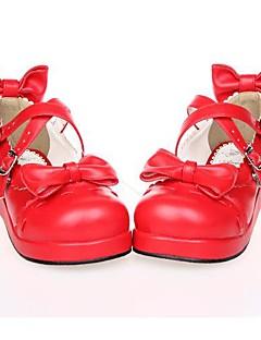 billiga Lolitamode-Skor Söt Lolita Lolita Platå Skor Rosett 3 CM Vit Svart Röd Till PU-läder/Polyuretan Läder