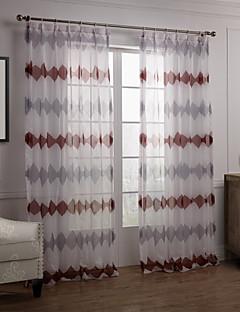baratos Cortinas Transparentes-Sheer Curtains Shades Quarto Inovador Poliéster Estampado