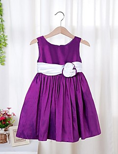 Girl's Solid Dress All Seasons Sleeveless Purple Red