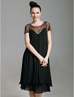 Sheath / Column Scoop Neck Knee Length Chiffon Holiday Dress with Beading by TS Couture®