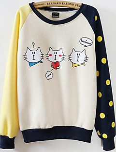 Women's Print Micro-elastic Cotton Long Sleeve Spring Fall