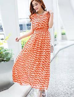 Χαμηλού Κόστους Stripes & checks-Γυναικεία Swing Φόρεμα - Ριγέ, Πλισέ Στάμπα
