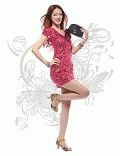 billige Antrekk til jazzdans-Kjoler Dame Trening Ytelse Bomull Polyester Paljetter Paljett Kort Erme Naturlig