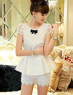 Pink Doll Women's Casual Elegant OL Lace Slim Cut Shorts