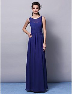 cheap Imperial Blue-Sheath / Column Jewel Neck Floor Length Chiffon Bridesmaid Dress with Draping Sash / Ribbon Ruched by LAN TING BRIDE®