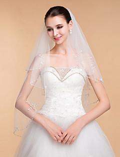 Πέπλα Γάμου Δύο-βαθμίδων Μακριά Πέπλα Άκρη με χάντρες 35,43 ίντσες (90εκ) Τούλι Λευκό Ιβουάρ