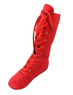 cheap -Women's Jazz Shoes / Ballroom Shoes Fabric Boots / Split Sole Lace-up Flat Heel Dance Shoes Black / White / Red