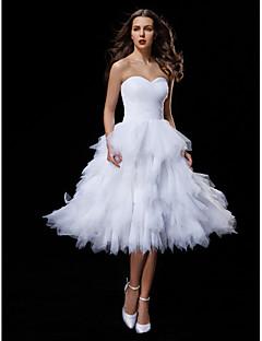 billiga Balbrudklänningar-Balklänning Hjärtformad urringning Knälång Tyll Bröllopsklänningar tillverkade med Veckad / Korsvis / Lager av LAN TING BRIDE®