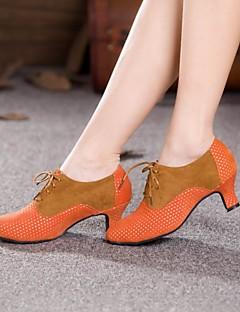 Χαμηλού Κόστους -Γυναικεία Μοντέρνα παπούτσια / Αίθουσα χορού Σουέτ Τακούνια Κορδόνια Κουβανικό Τακούνι Μη Εξατομικευμένο Παπούτσια Χορού Καφέ / Φούξια /