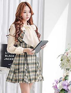 halpa -Pink Doll® Women's Fashion Plaid Pattern Woolen Dress