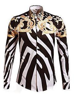 男性用 プリント カジュアル シャツ,長袖 コットン ホワイト