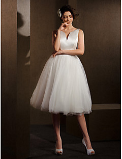 cheap Reception Dresses-Ball Gown V-neck Knee Length Satin Tulle Wedding Dress with Sash / Ribbon Bow by LAN TING BRIDE®