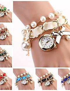 baratos -Mulheres Relógio de Moda Bracele Relógio Quartzo Lega Banda Com Pérolas Elegant Preta Branco Azul Vermelho Marrom Verde