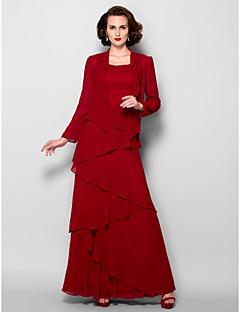 baratos Loja de Casamentos-Linha A Scoop pescoço Longo Georgette Vestido Para Mãe dos Noivos com Miçangas de LAN TING BRIDE® / Embrulho incluido