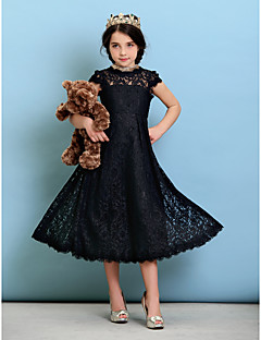 A-Line Princess Jewel Neck Tea Length Lace Junior Bridesmaid Dress with Pleats by LAN TING BRIDE®