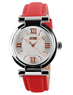 billige Høj kvalitet-SKMEI Dame Quartz Japansk Quartz Armbåndsur Modeur Afslappet Ur Læder Bånd Glitrende Sort Hvid Blåt Rød Pink